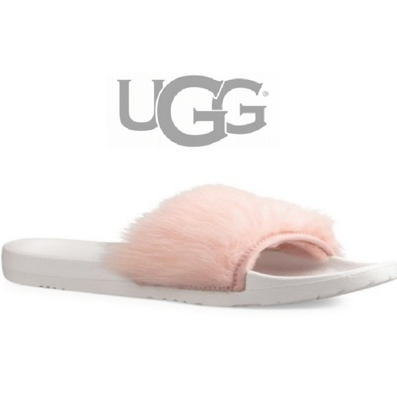 6ae6f03739f UGG Shoes | Pink White Royale Fluff Pool Slides Sz 7 | Poshmark